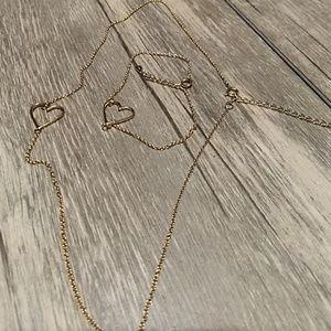 Necklace and Bracelet heart 14k sterling silver